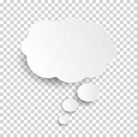 Cloud Icon, white thought bubble on transparent checked background for Infographic design vector