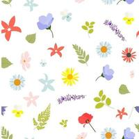Summer Abstract Seamless Pattern Background with Leaves and Flowers. Vector Illustration