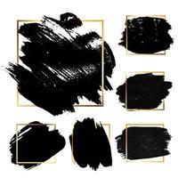 Black Grunge Brush paint ink stroke with square frame backgrounds set. Vector Illustration