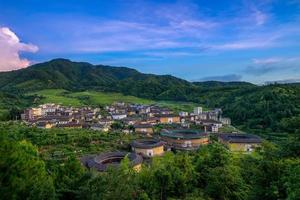 Aerial view of Chuxi Tulou cluster in Fujian, China photo