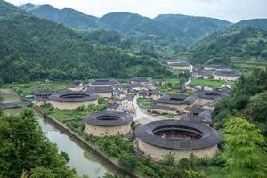 Aerial view of Hekeng Tulou cluster in Fujian, China photo