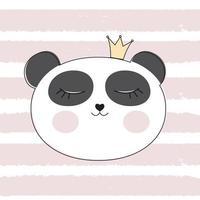 Little Cute Panda Princess Vector Illustration