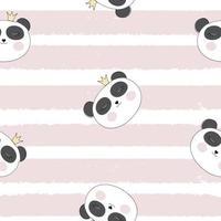 Little Cute Pamda Princess Seamless Pattern Background Vector Illustration