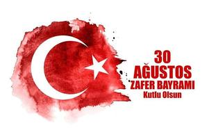 30 de agosto, dia de la victoria turco hablar agustos, zafer bayrami kutlu olsun. ilustración vectorial vector