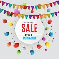 Abstract Designs Sale Banner with Balloons and Flags. Vector Illustration