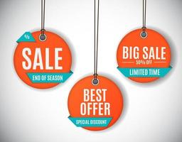 3D Price Sale Label Tags Set. Vector Illustration