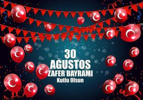 August 30, Victory Day Turkish Speak Agustos, Zafer Bayrami Kutlu Olsun. Vector Illustration
