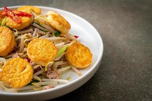 Stir-fried bean sprout, egg tofu and minced pork - Asian food style photo