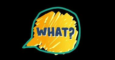Speech Bubble Doodle with 'what' in Handwriting video