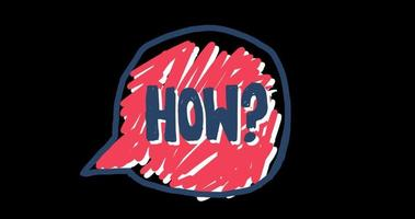 Speech Bubble Doodle with 'how' in Handwriting video