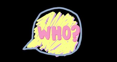 Speech Bubble Doodle with 'who' in Handwriting video