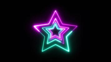 3d neon ster technologie achtergrond in een lus video