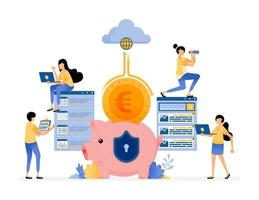 Vector Design Of Cloud Banking Protection And Security System In Efficiency To Collect And Manage Customer Funds Illustration Can Be For Websites Posters Banners Mobile Apps Web Social Media