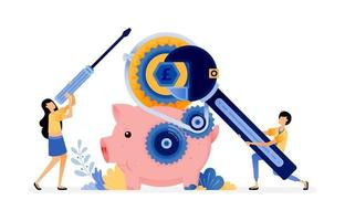 Vector Design Of The Piggy Bank Under Repair People Want To Save Money In The Bank Maintenance On Banking And Financial System Illustration Can Be For Websites Posters Banners Mobile Apps Web