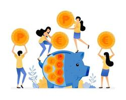 Vector Design Of People Save Coins In Piggy Banks Awareness Of People To Save In Banking System Financial Literacy Illustration Can Be For Websites Posters Banners Mobile Apps Web Social Media