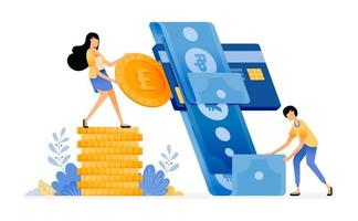 Vector Design of Manage finance and spending with credit card banking system for money debt and credit card loans illustration Can be for websites posters banners mobile apps web social media