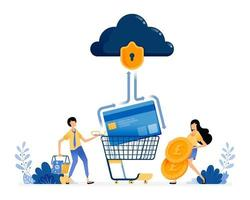 Vector Design of credit card banking security people holding coins and shopping baskets financial data protection illustration Can be for websites posters banners mobile apps web social media
