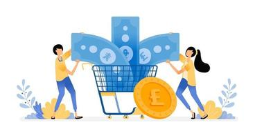 Vector Design Of Manage Finance For Consumption And Spending Grocery Store Shopping For Currencies Or Mutual Funds Illustration Can Be For Websites Posters Banners Mobile Apps Web Social Media