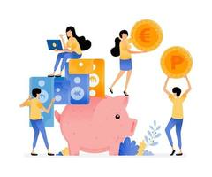 Vector Design Of People Save In Piggy Banks Collect Coins And Paper Money Banking Awareness And Financial Literacy Illustration Can Be For Websites Posters Banners Mobile Apps Web Social Media