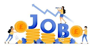 Vector Design of Increase in number of workers in financial sector increase job seekers income economic recovery illustration Can be for websites posters banners mobile apps web social media