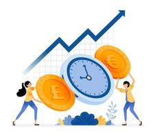 Vector Design Of Time Is Money Increase Investment Value People Holding Coins Save Time On Finance And Banking Illustration Can Be For Websites Posters Banners Mobile Apps Web Social Media