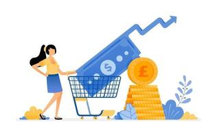 Vector Design of rising Purchasing investments in secondary financial market mutual funds deposit of future trade illustration Can be for websites posters banners mobile apps web social media
