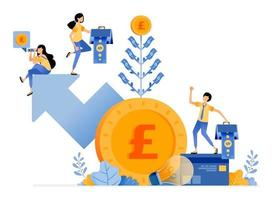 Vector Design of increase and get additional investment value good returns in financial bank interest and deposits illustration Can be for websites posters banners mobile apps web social media