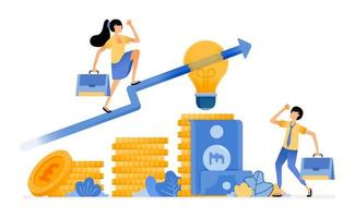 Vector Design of Idea In choose best financial investment increase investment in money market tiered pile of coins illustration Can be for websites posters banners mobile apps web social media