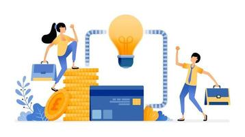 Vector Design of Ideas for managing finances financial sector system for debt loans credit cards banking access illustration Can be for websites posters banners mobile apps web social media