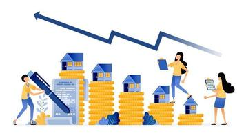 Vector Design of increase in housing market investment prices with good returns mortgage purchase agreement sign illustration Can be for websites posters banners mobile apps web social media