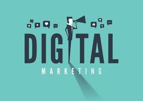 Businessman with Megaphone. Digital marketing concept. vector