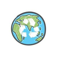 Earth globe with hand drawn recycle symbol. Waste reducing and recycling worldwide concept. Ecology care and eco friendly concept. vector