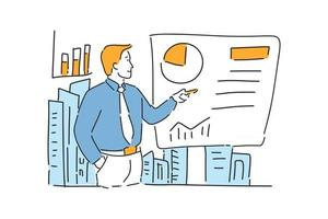 businessman presentation success hand drawn illustration vector