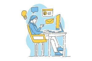 woman work business on desk vector