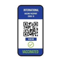 Certificate of vaccination on mobile phone screen. scan QR code vaccine covid-19 international icon symbol on white background. vector