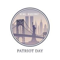 Patriot Day New York skyline 11 september 2001. vector