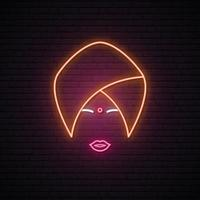 Neon sign of Indian woman in national headdress. vector