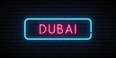 Dubai neon sign. Bright light signboard. vector