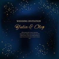 Wedding Invitation with Night Sky and Stars Background. Vector Illustration