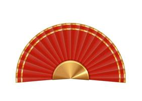ventilador chino rojo 3d realista aislado sobre fondo blanco. elemento de diseño para la celebración del año nuevo chino eps10 vector