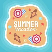Summer vector banner design concept on the beach with summer elements.