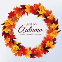 Hello Autumn. Happy Thanksgiving Day background with falling leaves. Vector Illustration