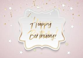 Golden Glossy Happy Birthday Background Template with Confetti and Frame.Template for design invitation,flyer, poste, banners. Vector Illustration EPS10