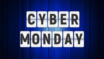Cyber Monday Sale Background. Vector Illustration on black