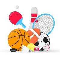 Sport gaming composition with balls - soccer, football, basketball. Bowling skittle, tennis and ping pong racket, puck etc... Sport equipment flat style design vector illustration isolated on white.
