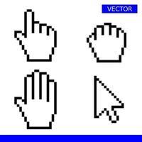 Drag hand cursor icon white vector illustration