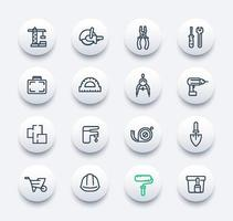 Construction and renovation icons set in linear style vector
