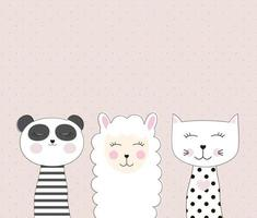 Little cute llama, panda and cat for card and shirt design. Best Friend Concept. Vector Illustration
