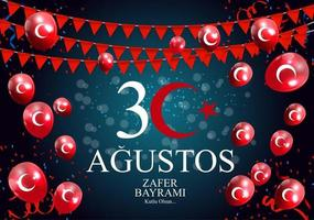 August 30, Victory Day Turkish Speak 30 Agustos, Zafer Bayrami Kutlu Olsun. Vector Illustration