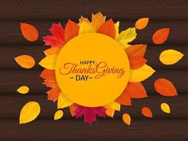 Happy Thanksgiving Day Background with Shiny Autumn Natural Leaves. Vector Illustration